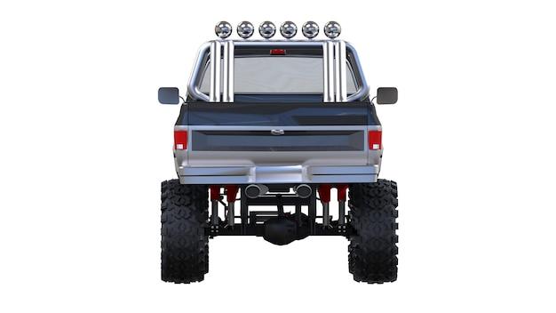 오프로드 대형 픽업 트럭. 전체-훈련. 높게 올려 진 서스펜션. 바위와 진흙을위한 스파이크가있는 거대한 바퀴. 3d 그림.