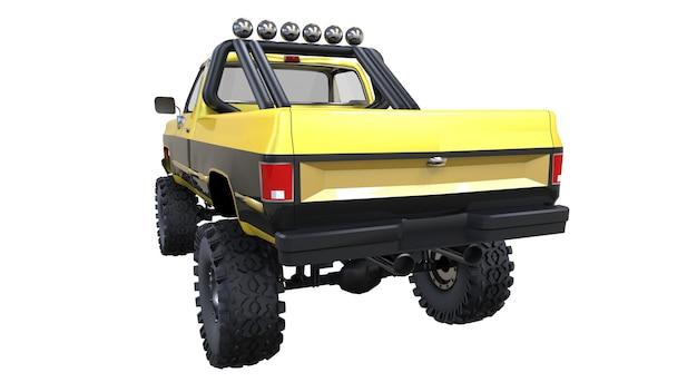 대형 픽업 트럭 오프로드. 전체 - 훈련. 높게 올라간 서스펜션. 바위와 진흙을 위한 스파이크가 있는 거대한 바퀴. 3d 그림입니다.