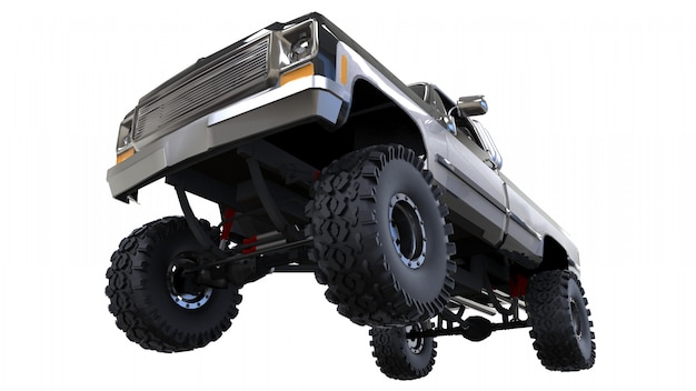 Large pickup truck off-road. full - training. highly raised suspension. huge wheels with spikes for rocks and mud. 3d rendering.