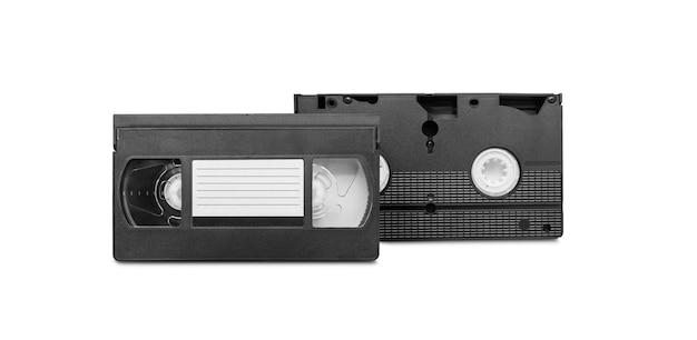 Большое изображение старой видеокассеты на белом фоне