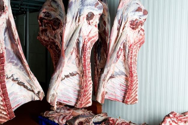 판매를 위한 차가운 방에 있는 신선한 고기의 큰 조각