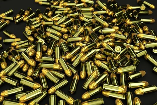 짙은 검은색 바닥에 커다란 카트리지 더미가 무작위로 흩어져 있습니다. 검은 격리 된 배경에 총알의 3d 그림. 황금 총알, 권총 카트리지