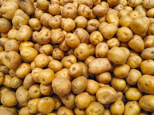 Большая куча картофеля на прилавке рынка. продовольственный фон и концепция урожая картофеля.