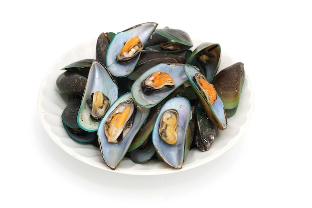 A large pile of steamed mussels isolated on white background, popular seafood in thailand.