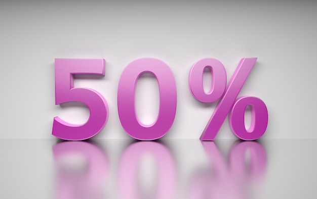 Large pink percentage number 50 percent standing on white reflective surface.