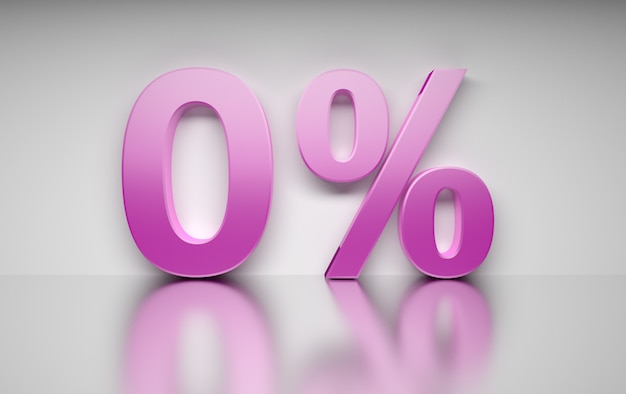 Большой розовый процентное число ноль процентов стоит на белой отражающей поверхности.