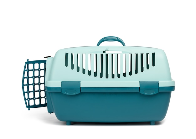 Large plastic carrier cage for pets isolated