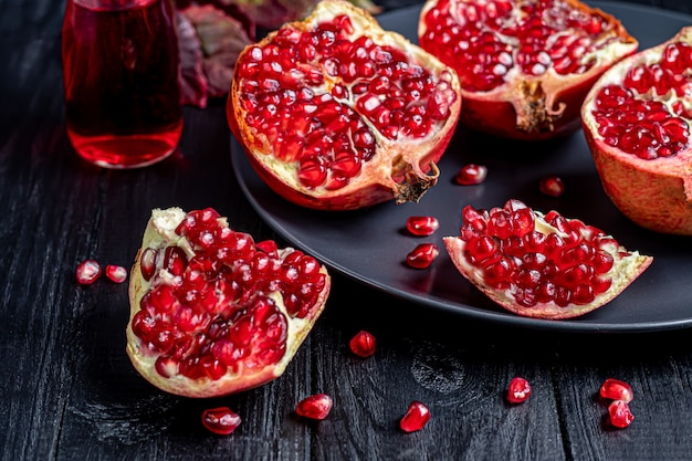 Large pomegranate broken into pieces