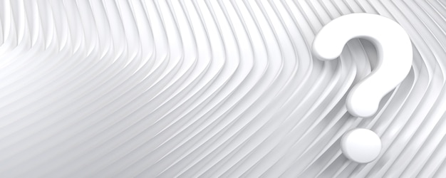 Large question mark on abstract white lines and waves pattern concept 3d backdrop with copy space