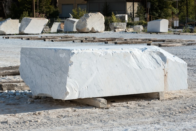 Large rectangular block of white carrara marble