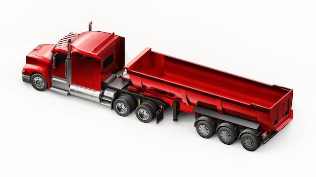 흰색 배경에 대량 화물을 운송하기 위한 트레일러 유형 덤프 트럭이 있는 대형 빨간색 미국 트럭. 3d 그림입니다.