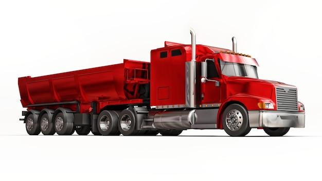 Большой красный американский грузовик с самосвалом прицепного типа для перевозки сыпучих грузов на белой поверхности