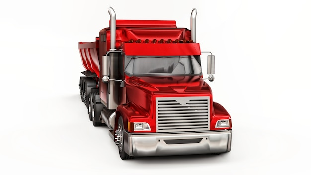 Большой красный американский грузовик с самосвалом типа прицеп на белом фоне