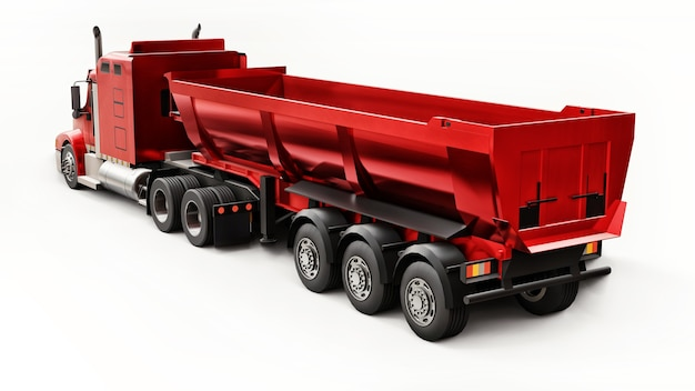 Large red american truck with a trailer type dump truck for transporting bulk cargo on a white background. 3d illustration.
