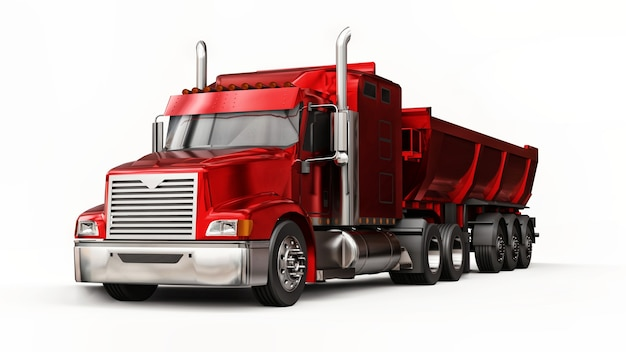 Large red american truck with a trailer type dump truck for transporting bulk cargo on a white surface