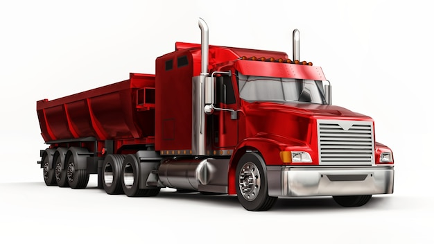 Large red american truck with a trailer type dump truck on white background