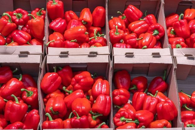 가게에서 판지 상자에 누워 큰 빨간 피망. 익은 채소의 수집 및 판매. 건강한 식이 제품 개념입니다. 건강 식품 개념