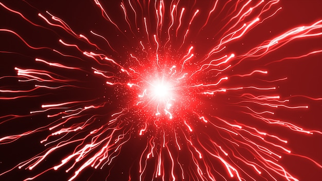 A large red explosion particles under a microscope
