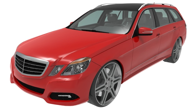 Large red family business car with a sporty and at the same time comfortable handling. 3d rendering.