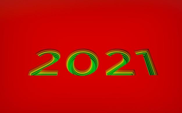 大きな赤い数字が背景にレイヤーで刻まれた新年あけましておめでとうございます、赤から緑の願いへの色のグラデーション。レイヤード3dカットアウトクラフトデザイン、レンダリング