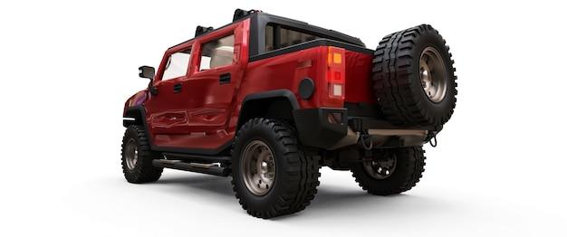 시골이나 흰색 외진 배경의 탐험을 위한 대형 빨간색 오프로드 픽업 트럭. 3d 그림입니다.