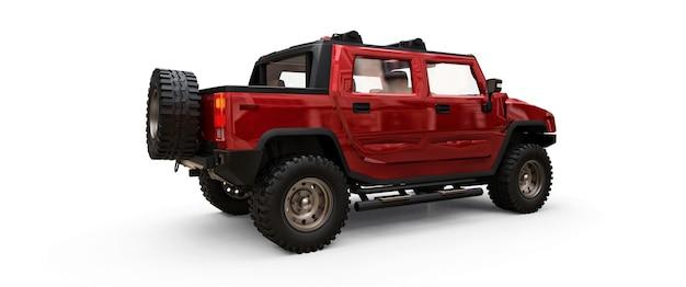 시골이나 탐험 3d 그림을 위한 대형 빨간색 오프로드 픽업 트럭