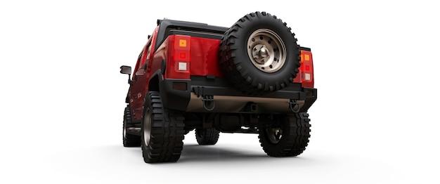 시골이나 탐험 3d 그림을 위한 대형 빨간색 오프로드 픽업 트럭 프리미엄 사진