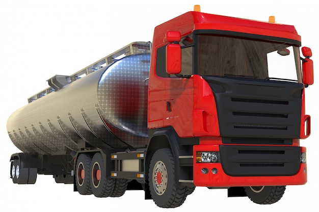 Large red truck tanker with polished metal trailer