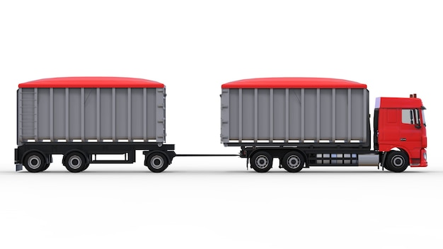 Большой красный грузовик с отдельным прицепом для перевозки сельскохозяйственных и строительных сыпучих материалов и продуктов. 3d-рендеринг.