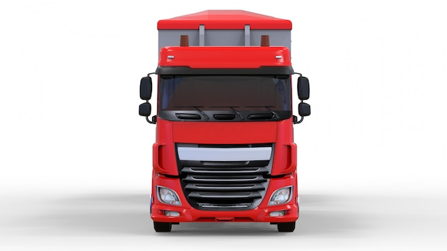 Large red truck with separate trailer, for transportation of agricultural and building bulk materials and products