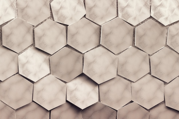 Large repating randomly arranged hexagons. tinted with brown color pattern with 3d hexagons.