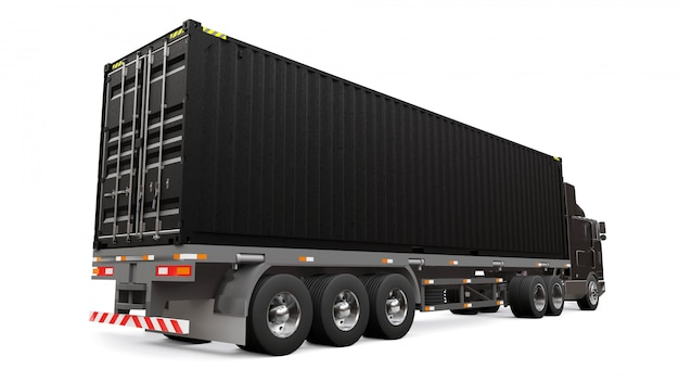 A large retro black truck with a sleeping part and an aerodynamic extension carries a trailer with a sea container. 3d rendering.