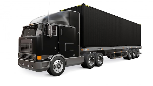 A large retro black truck with a sleeping part and an aerodynamic extension carries a trailer with a sea container