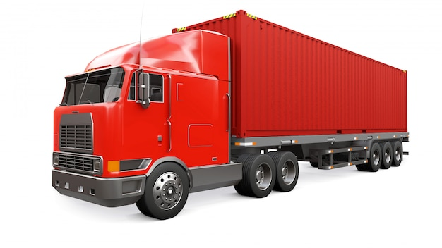 A large retro red truck with a sleeping part and an aerodynamic extension carries a trailer with a sea container