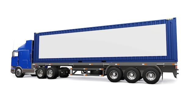 A large retro truck with a sleeping part and an aerodynamic extension carries a trailer with a sea container. on the side of the truck is a blank white poster for your design. 3d rendering.