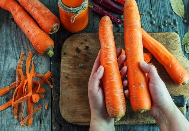 Large ripe carrots lie in female hands
