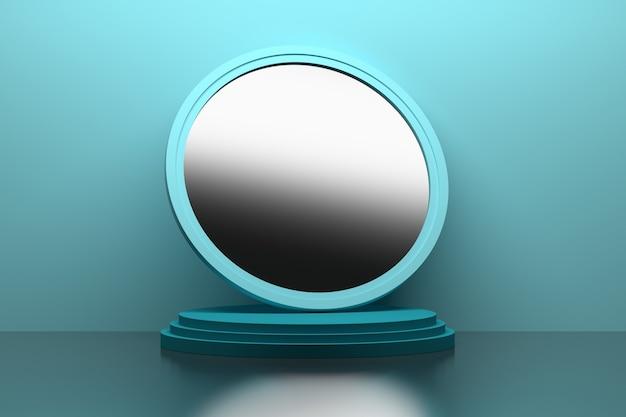 青い表面の台座にある大きな丸い鏡