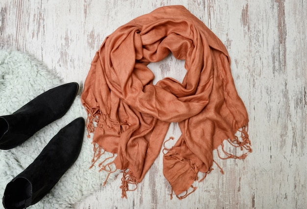 Large scarf and black boots