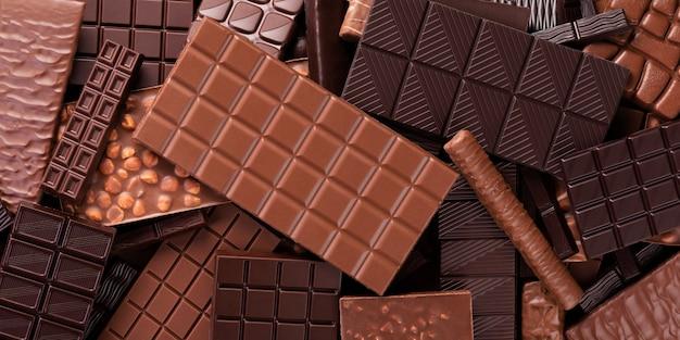 大規模な選択のチョコレートの背景。デザートとしてのオーガニック食品