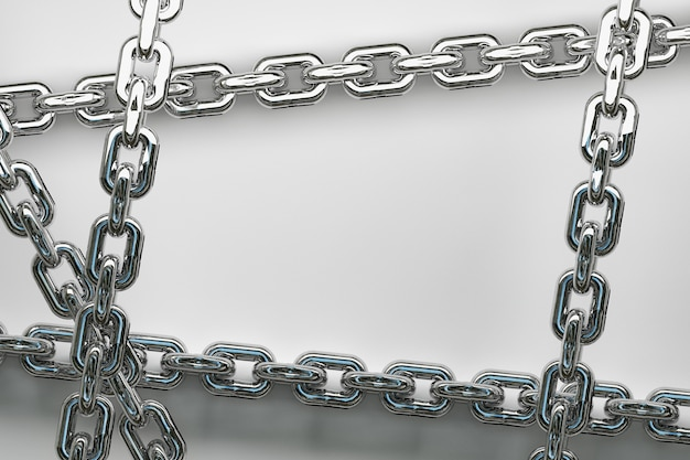 Large shiny metallic silver chains frame background