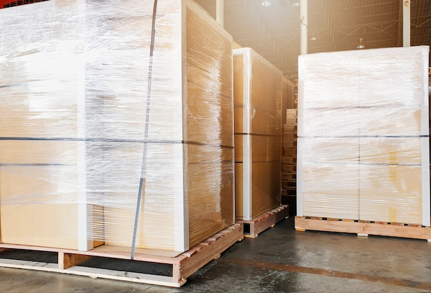 Large shipment goods wrapping plastic on pallets