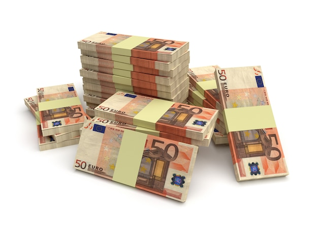 Large stack of euro money isolated on white background