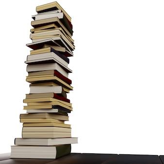 白い背景の上のさまざまな本の大規模なスタック。あなたのテキストのための場所。 3dイラスト