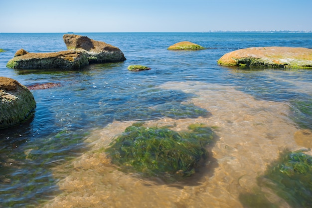 Large stones in the water. water pollution.