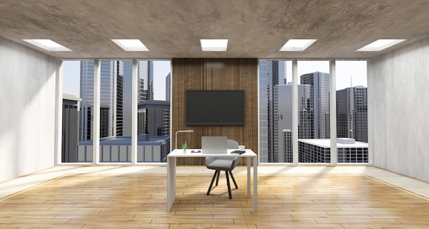 Large style office interior with  place  of work with group of office equipment