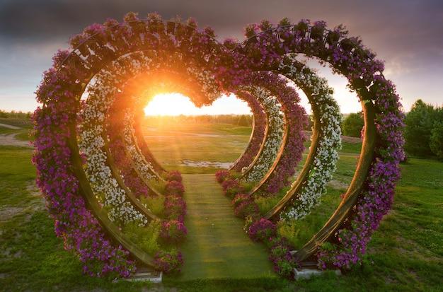 Большая многоярусная клумба с петуниями в форме сердца на закате в парке.