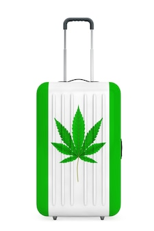 Large travel polycarbonate suitcases with medical marijuana or cannabis hemp leaf sign on a white background. 3d rendering