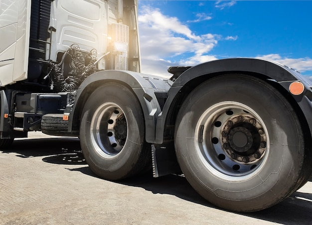 Large a truck wheels tires of semi truck, freight truck transportation.