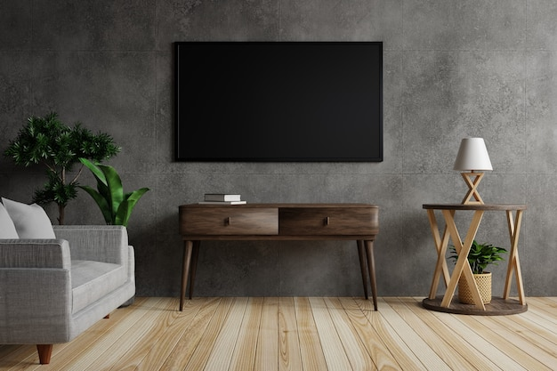 Large tv on a concrete wall in the living room is decorated with lamps, plants and furniture on wooden floor. 3d rendering.
