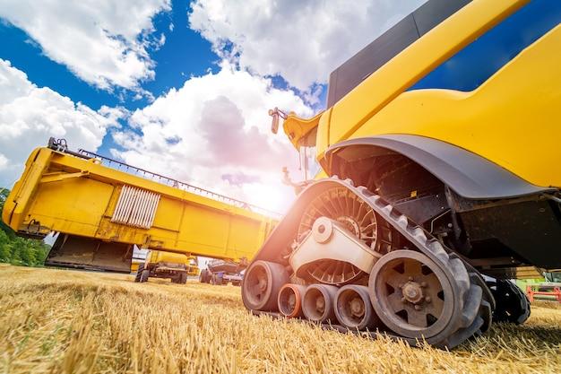 黄色のコンバインの大きな眺め。フィールドでの特別な技術。金小麦の近代的な機械。